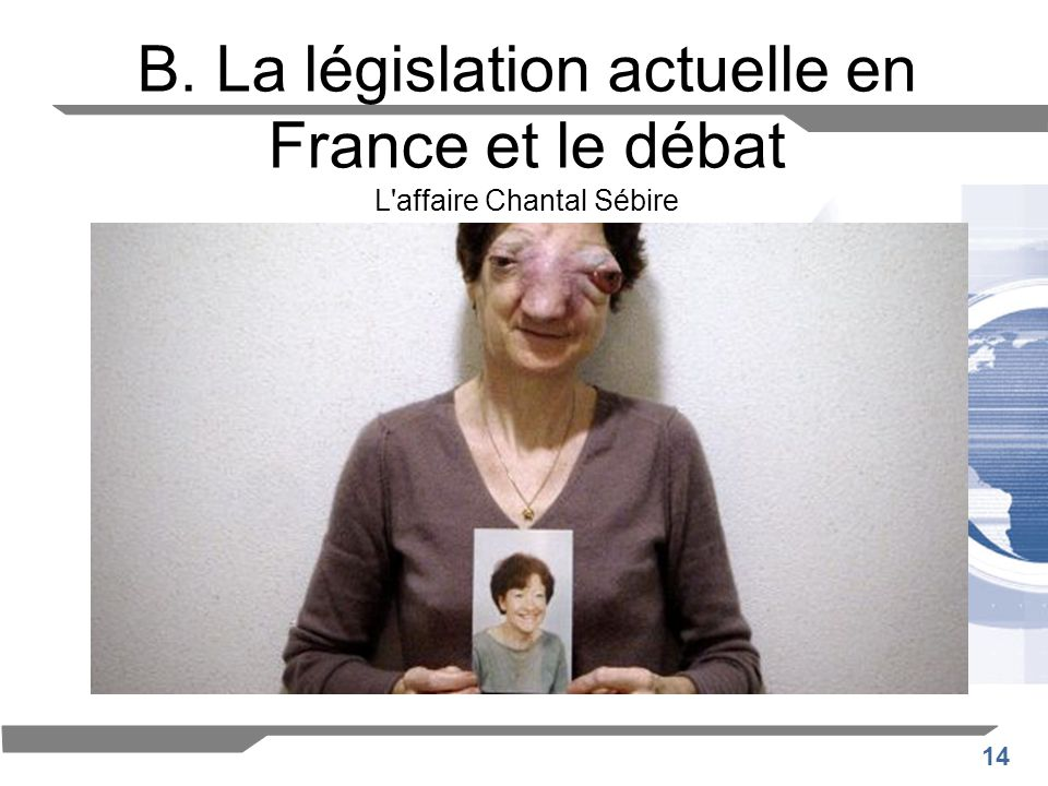 B. La législation actuelle en France et le débat L affaire Chantal Sébire