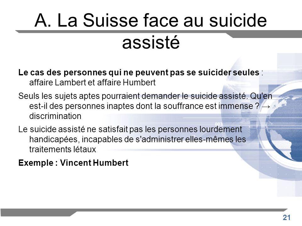 A. La Suisse face au suicide assisté