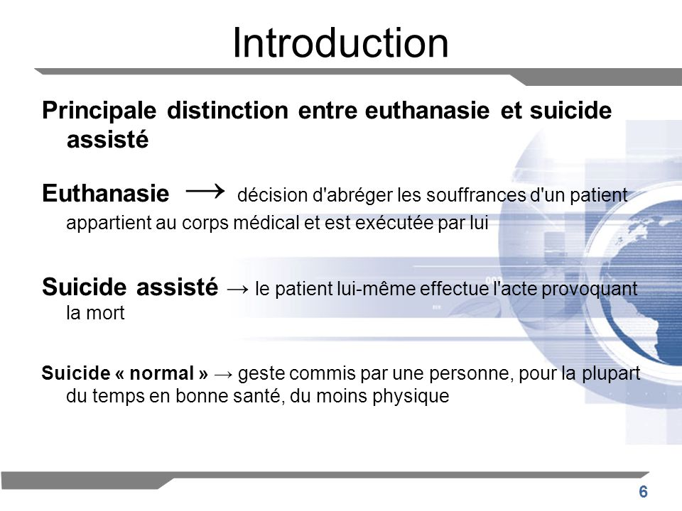Introduction Principale distinction entre euthanasie et suicide assisté.