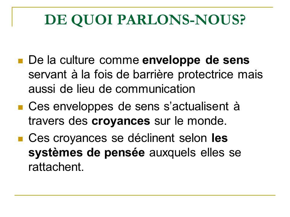 DE QUOI PARLONS-NOUS De la culture comme enveloppe de sens servant à la fois de barrière protectrice mais aussi de lieu de communication.
