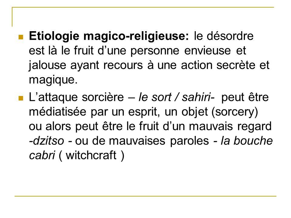 Etiologie magico-religieuse: le désordre est là le fruit d'une personne envieuse et jalouse ayant recours à une action secrète et magique.