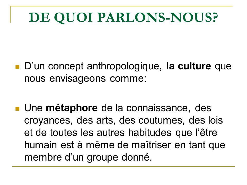 DE QUOI PARLONS-NOUS D'un concept anthropologique, la culture que nous envisageons comme: