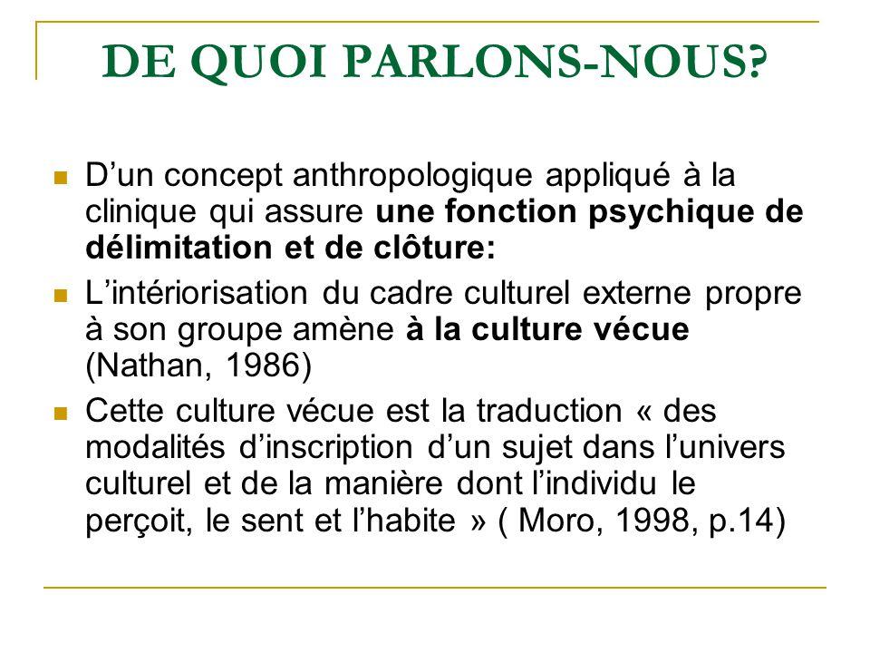 DE QUOI PARLONS-NOUS D'un concept anthropologique appliqué à la clinique qui assure une fonction psychique de délimitation et de clôture: