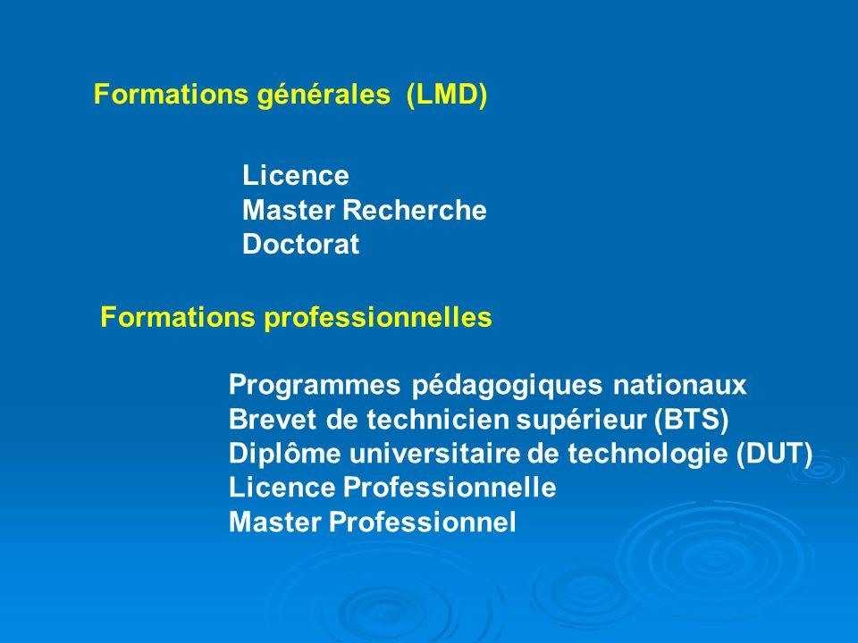 Formations générales (LMD)