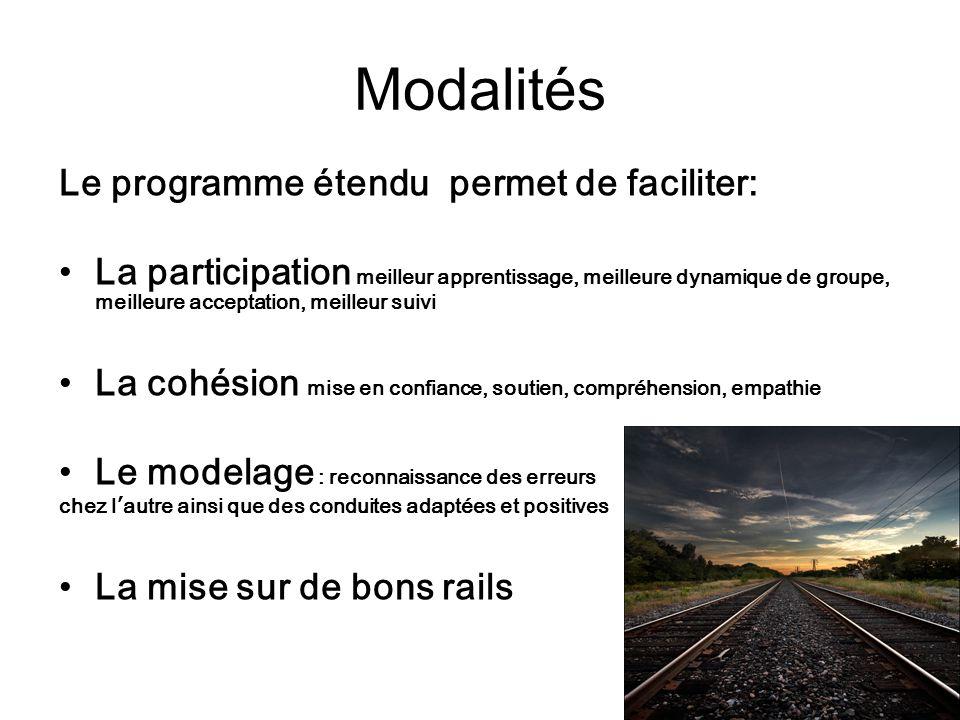 Modalités Le programme étendu permet de faciliter: