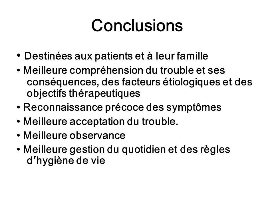 Conclusions • Destinées aux patients et à leur famille
