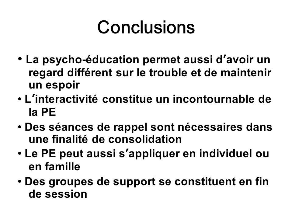 Conclusions • La psycho-éducation permet aussi d'avoir un regard différent sur le trouble et de maintenir un espoir.