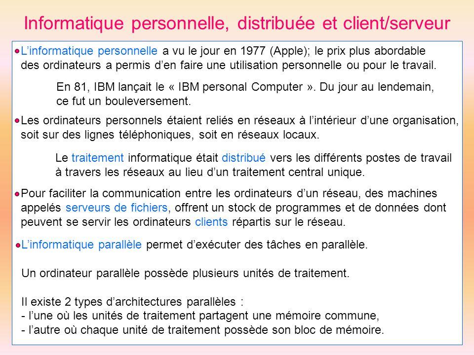 Informatique personnelle, distribuée et client/serveur