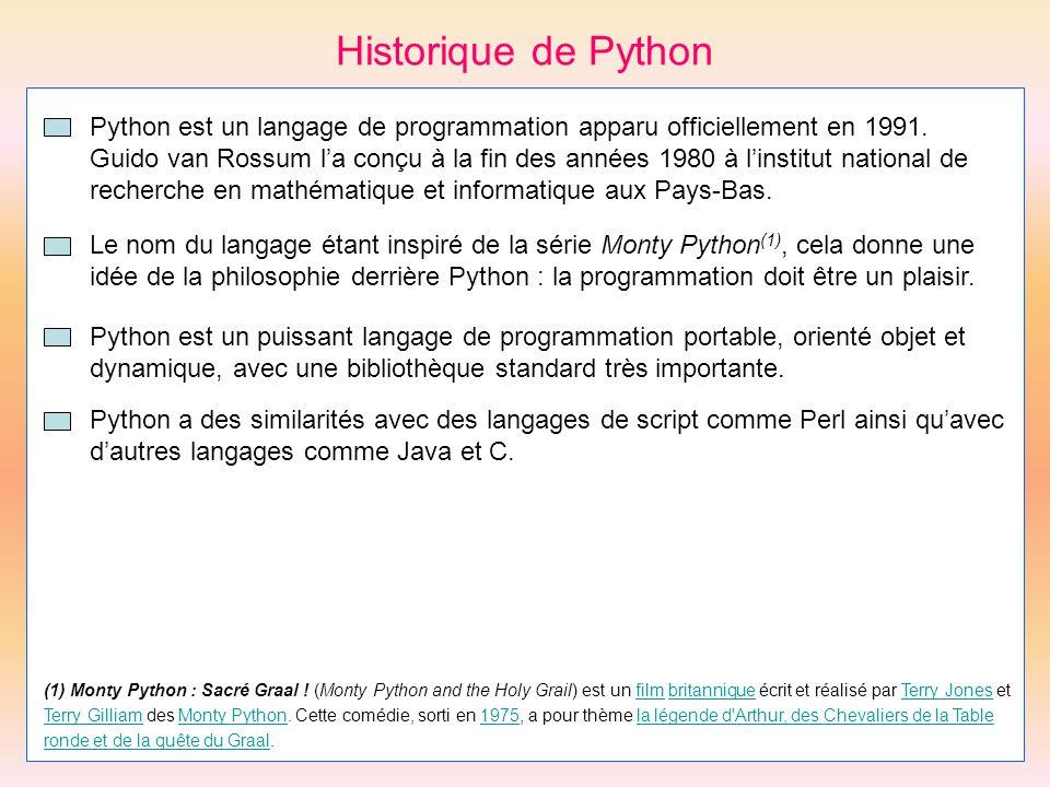 Historique de Python Python est un langage de programmation apparu officiellement en 1991.