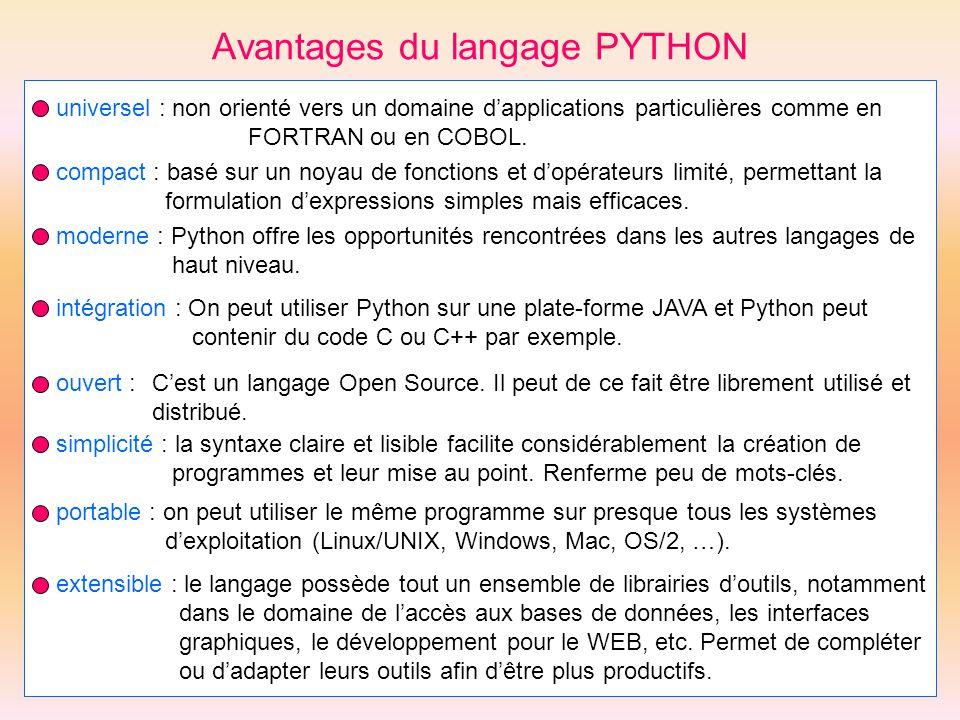 Avantages du langage PYTHON