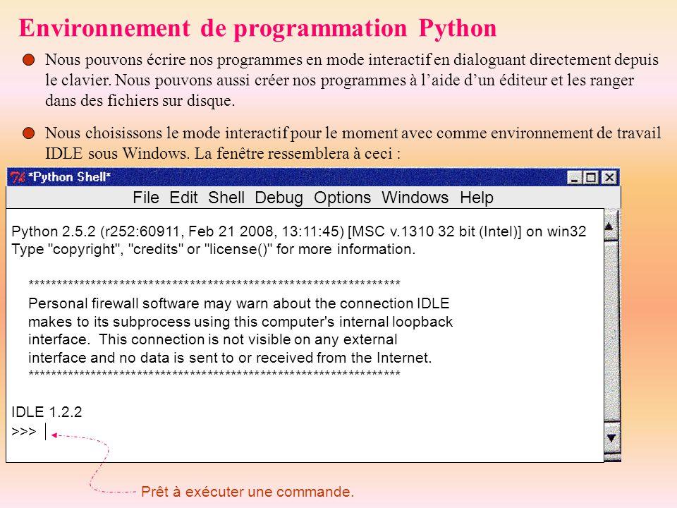 Environnement de programmation Python
