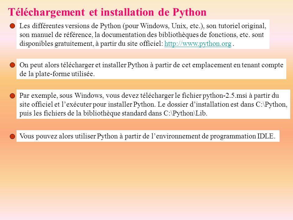 Téléchargement et installation de Python