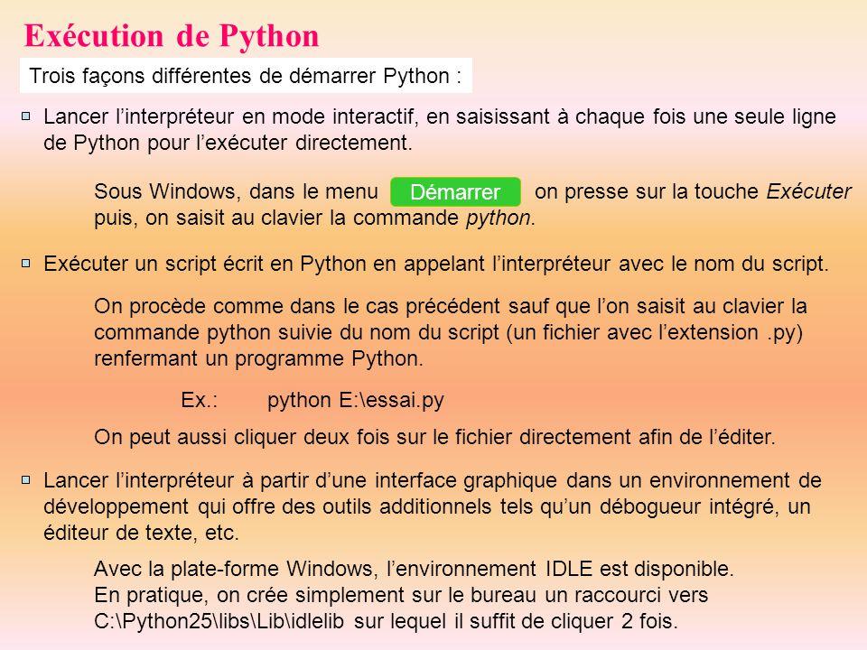 Exécution de Python Trois façons différentes de démarrer Python :