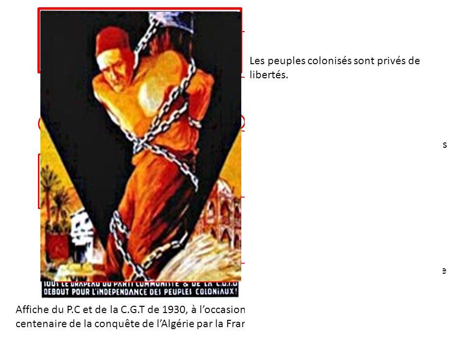 Les peuples colonisés sont privés de libertés.