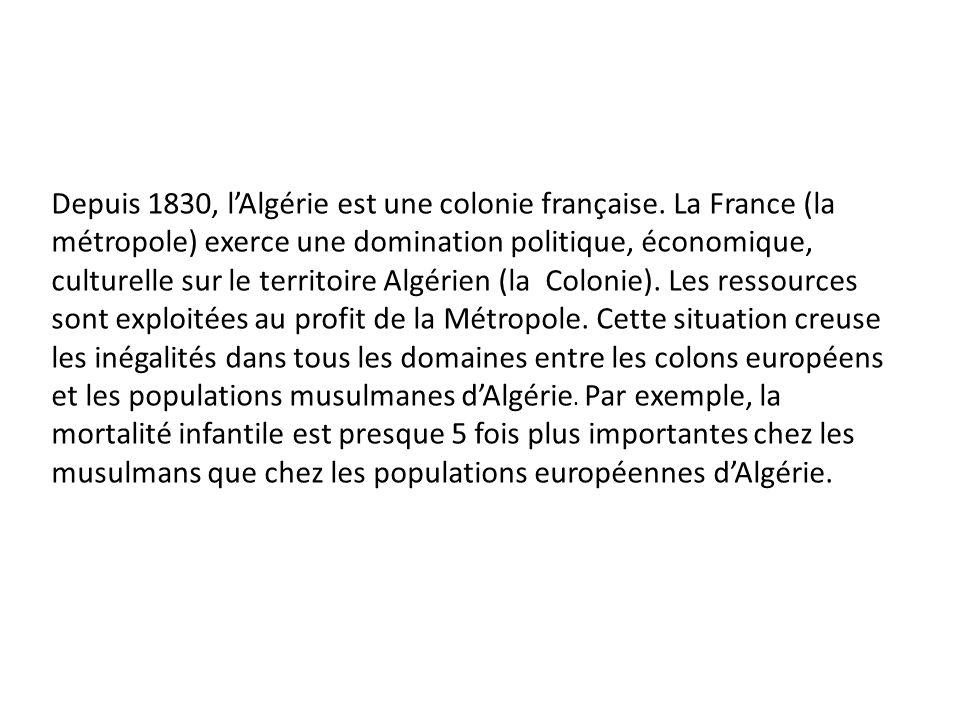 Depuis 1830, l'Algérie est une colonie française