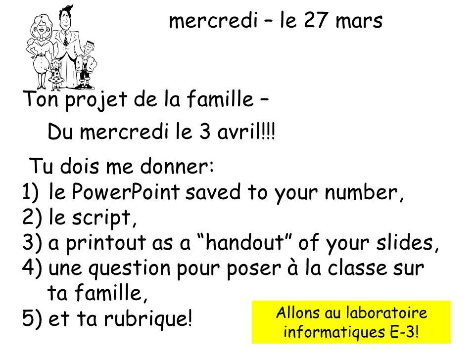 Ton projet de la famille – Du mercredi le 3 avril!!!