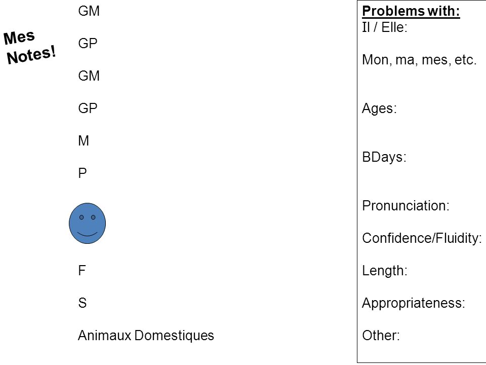Mes Notes! GM GP M P F S Animaux Domestiques Problems with: Il / Elle: