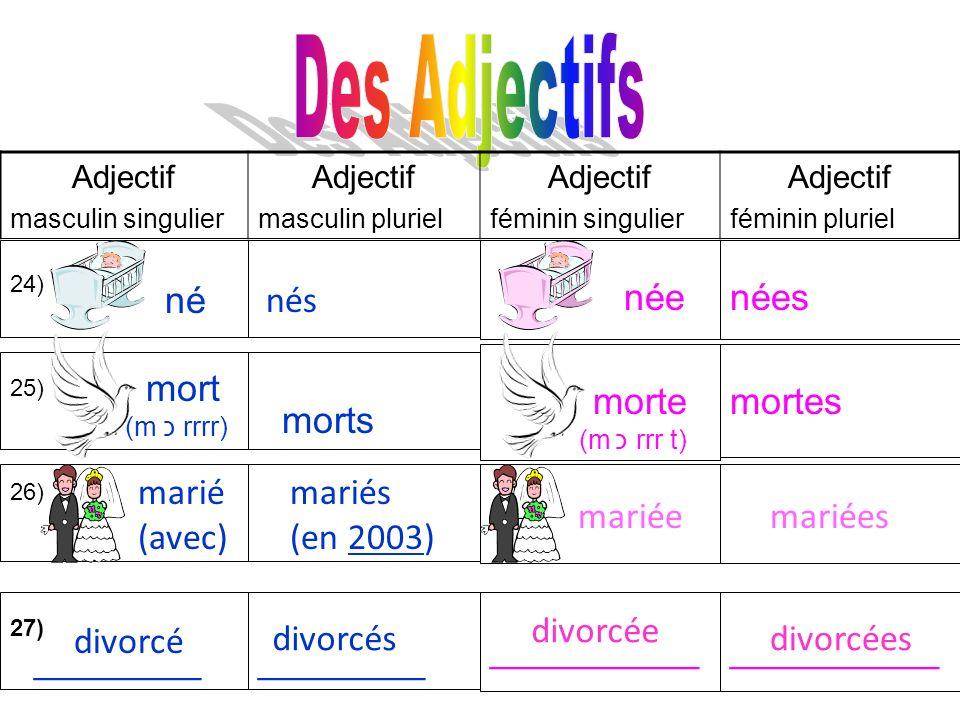Des Adjectifs née nées né nés morte mortes mort morts marié (avec)