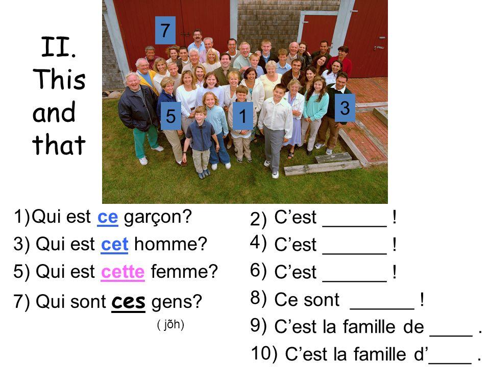 II. This and that mardi – le 26 mars 7 3 5 1 Qui est ce garçon