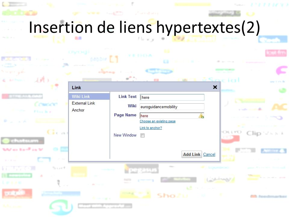 Insertion de liens hypertextes(2)