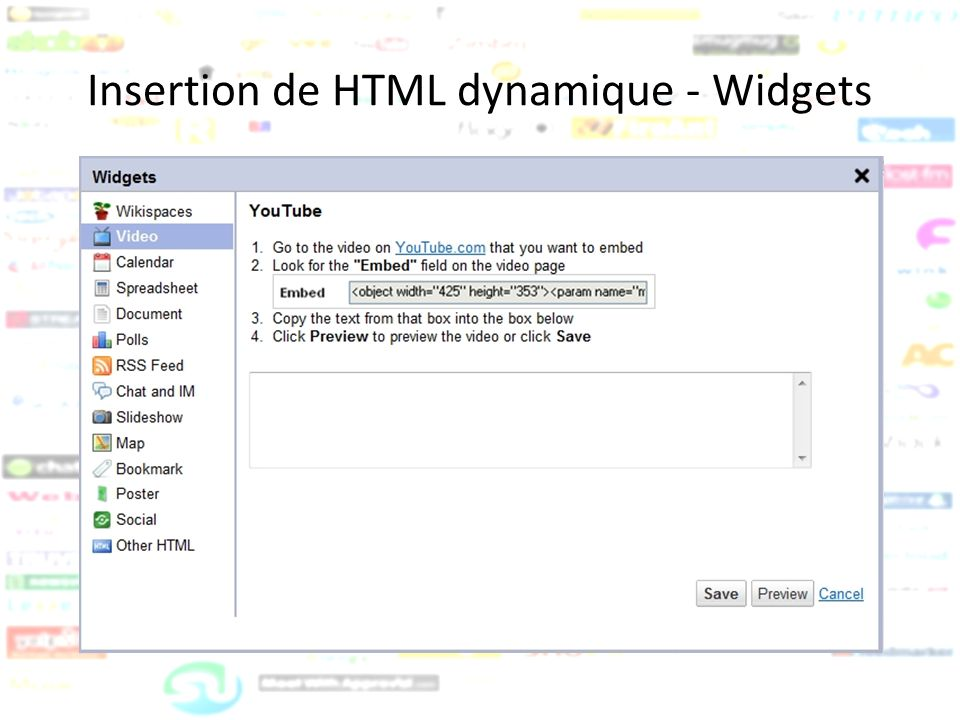 Insertion de HTML dynamique - Widgets