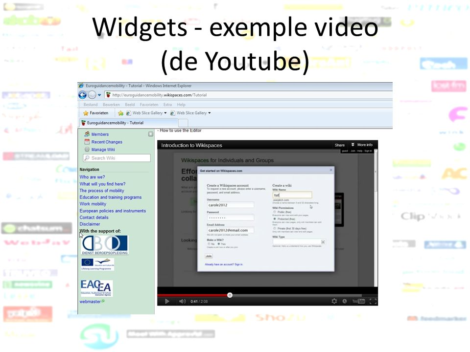 Widgets - exemple video (de Youtube)