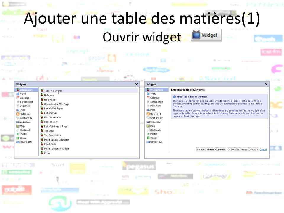 Ajouter une table des matières(1) Ouvrir widget