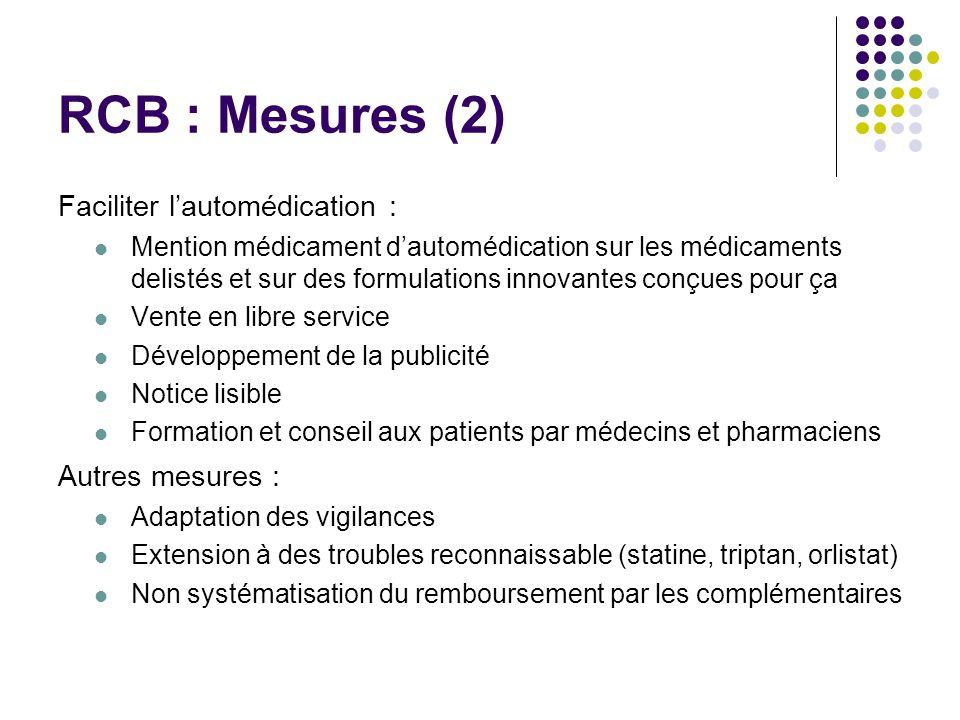 RCB : Mesures (2) Faciliter l'automédication : Autres mesures :