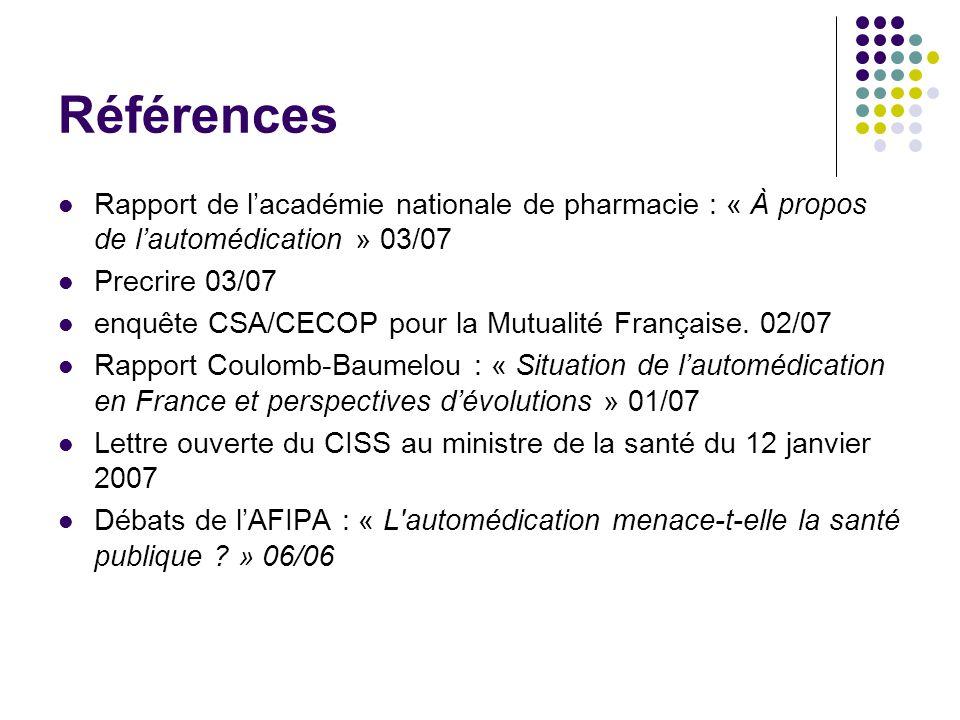 Références Rapport de l'académie nationale de pharmacie : « À propos de l'automédication » 03/07. Precrire 03/07.