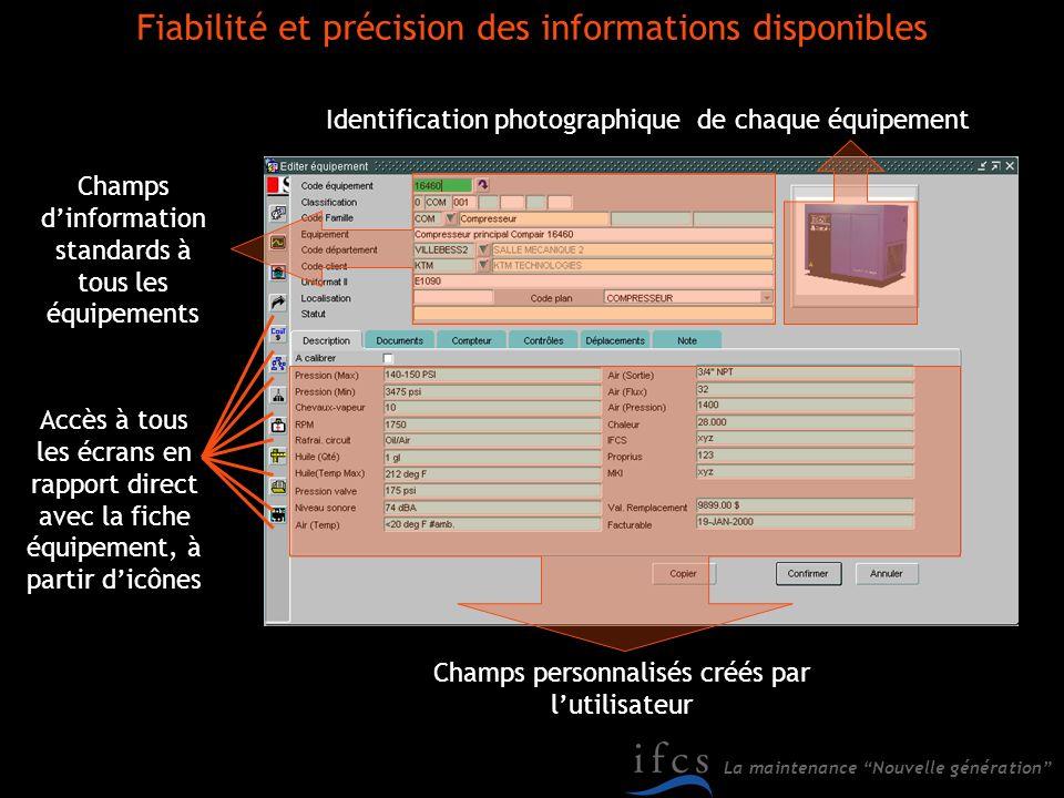 Fiabilité et précision des informations disponibles