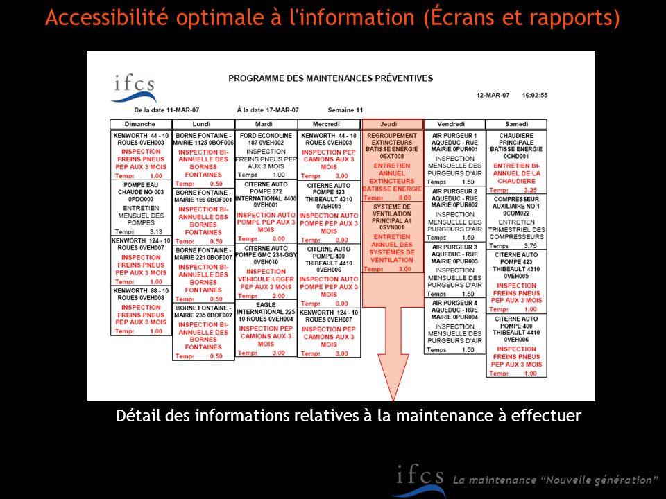 Accessibilité optimale à l information (Écrans et rapports)