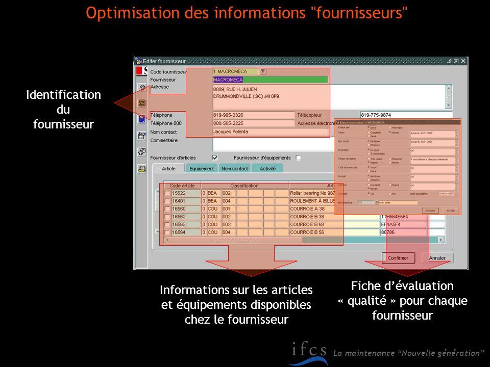 Optimisation des informations fournisseurs