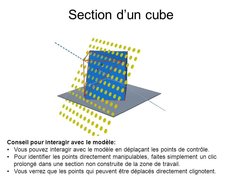Section d'un cube Conseil pour interagir avec le modèle: