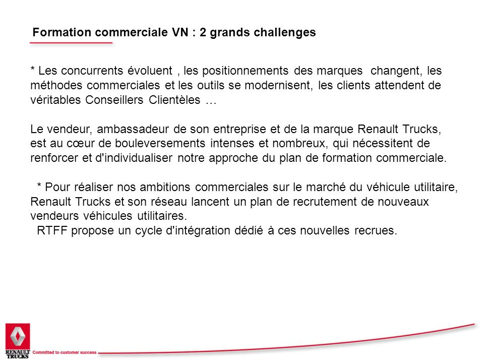 Formation commerciale VN : 2 grands challenges