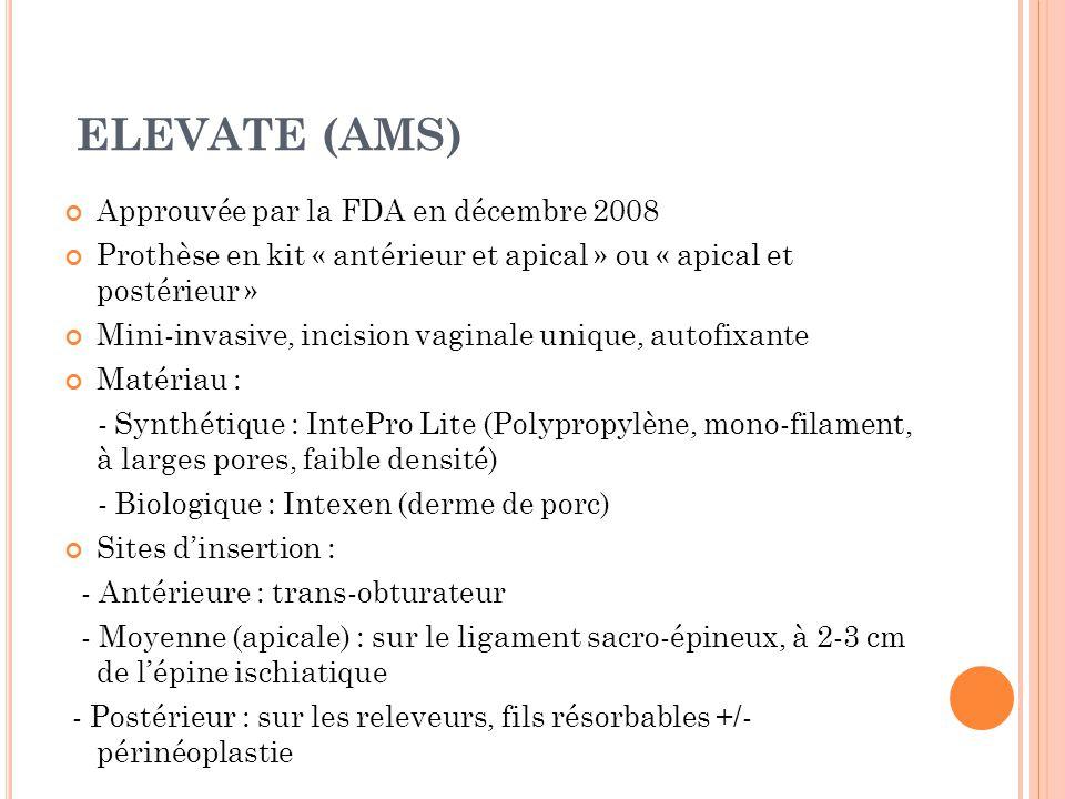 ELEVATE (AMS) Approuvée par la FDA en décembre 2008