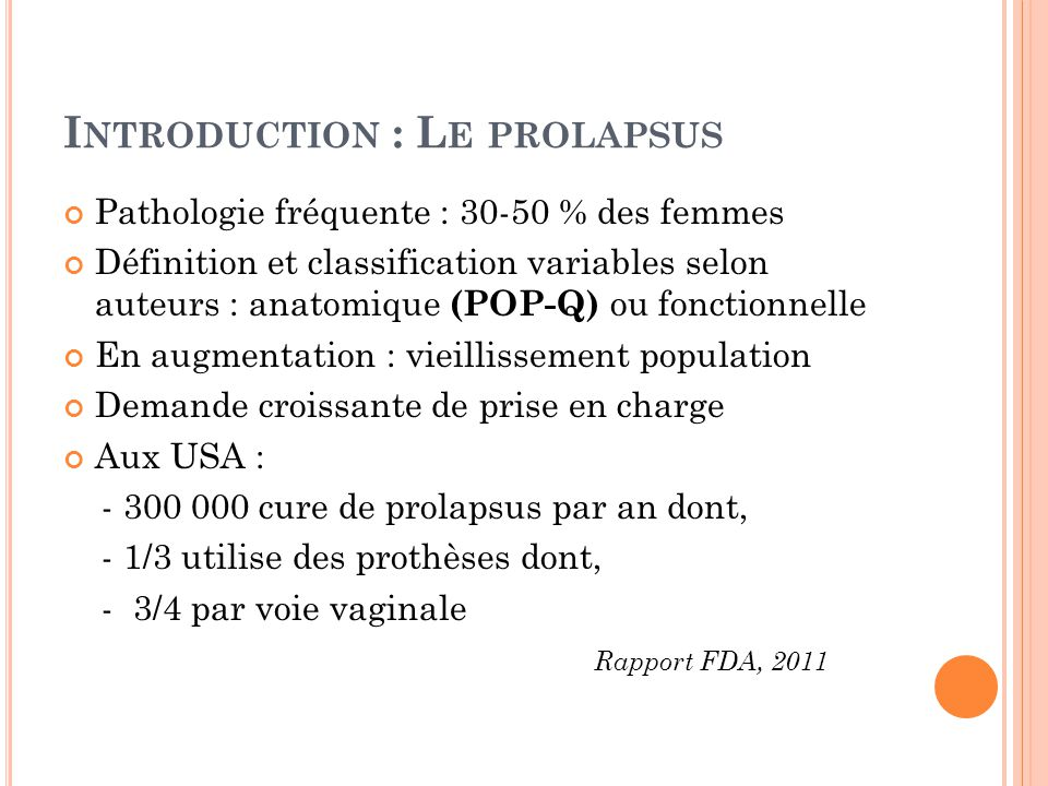 Introduction : Le prolapsus