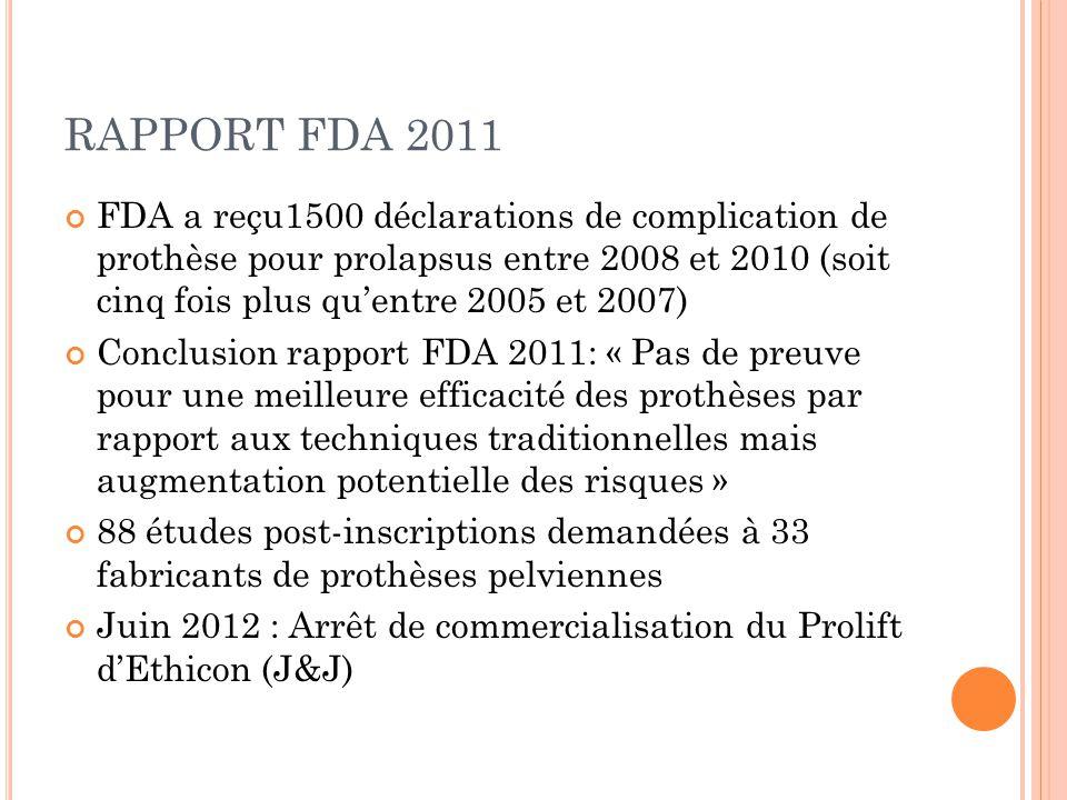RAPPORT FDA 2011