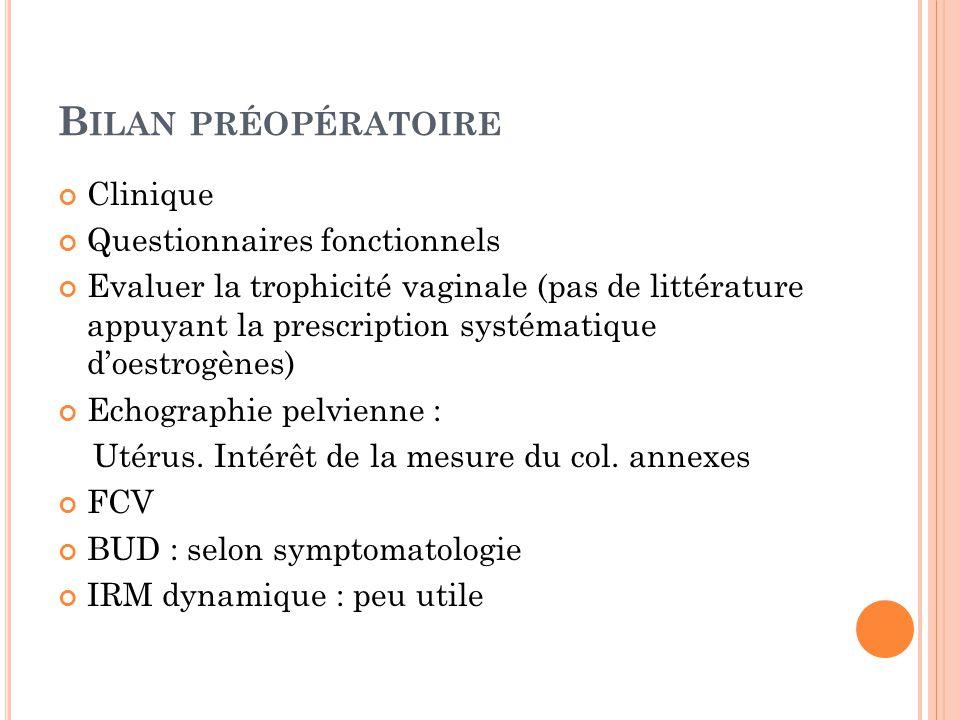 Bilan préopératoire Clinique Questionnaires fonctionnels