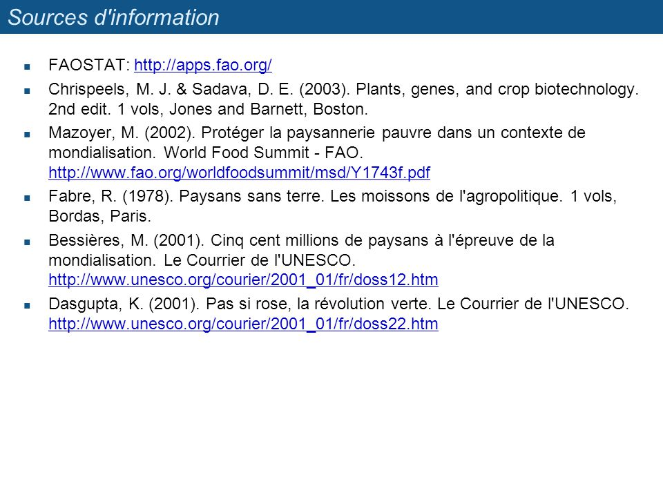 Sources d information FAOSTAT: http://apps.fao.org/