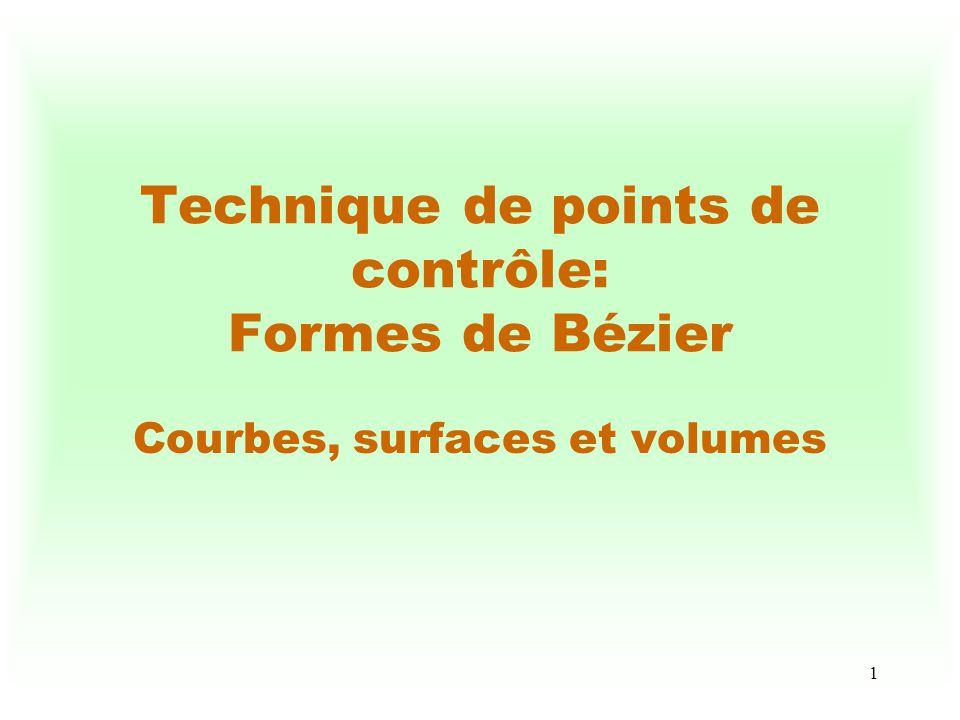 Technique de points de contrôle: Formes de Bézier