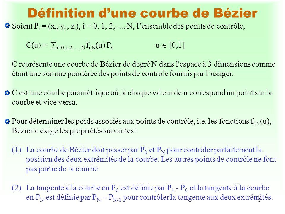 Définition d'une courbe de Bézier