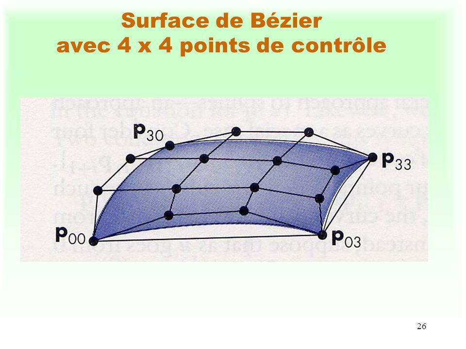 Surface de Bézier avec 4 x 4 points de contrôle