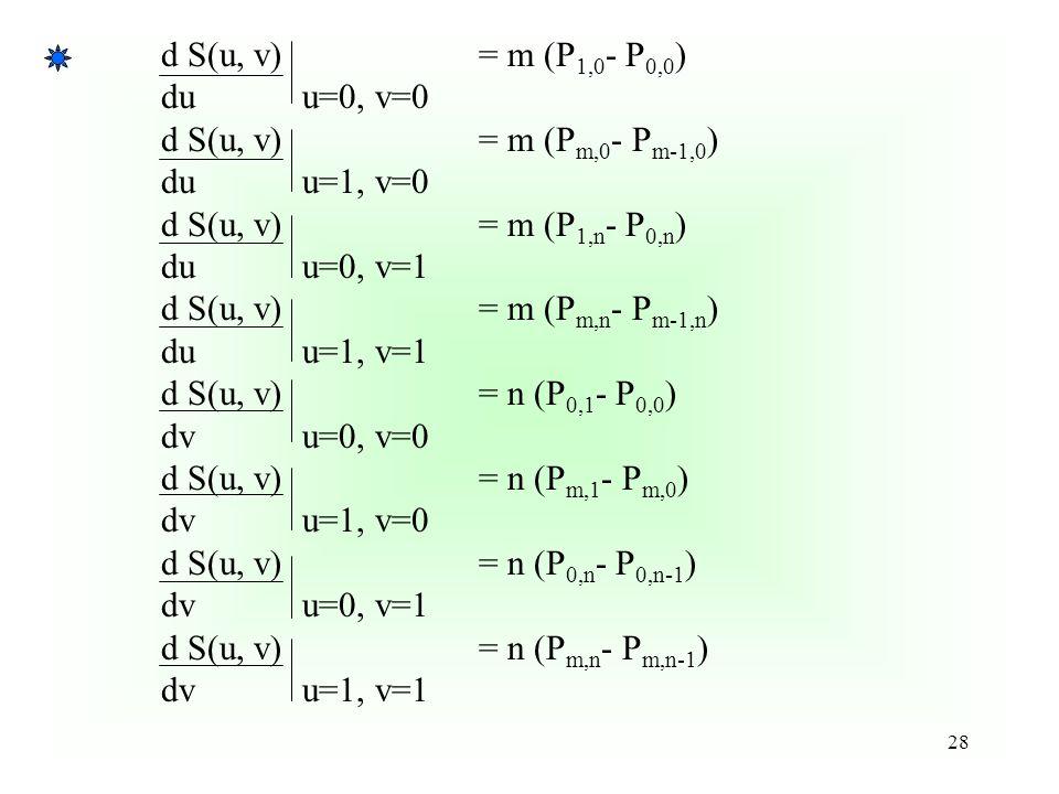 d S(u, v) = m (P1,0- P0,0) du u=0, v=0. d S(u, v) = m (Pm,0- Pm-1,0) du u=1, v=0. d S(u, v) = m (P1,n- P0,n)