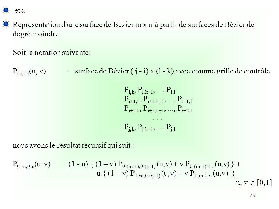 etc. Représentation d une surface de Bézier m x n à partir de surfaces de Bézier de. degré moindre.