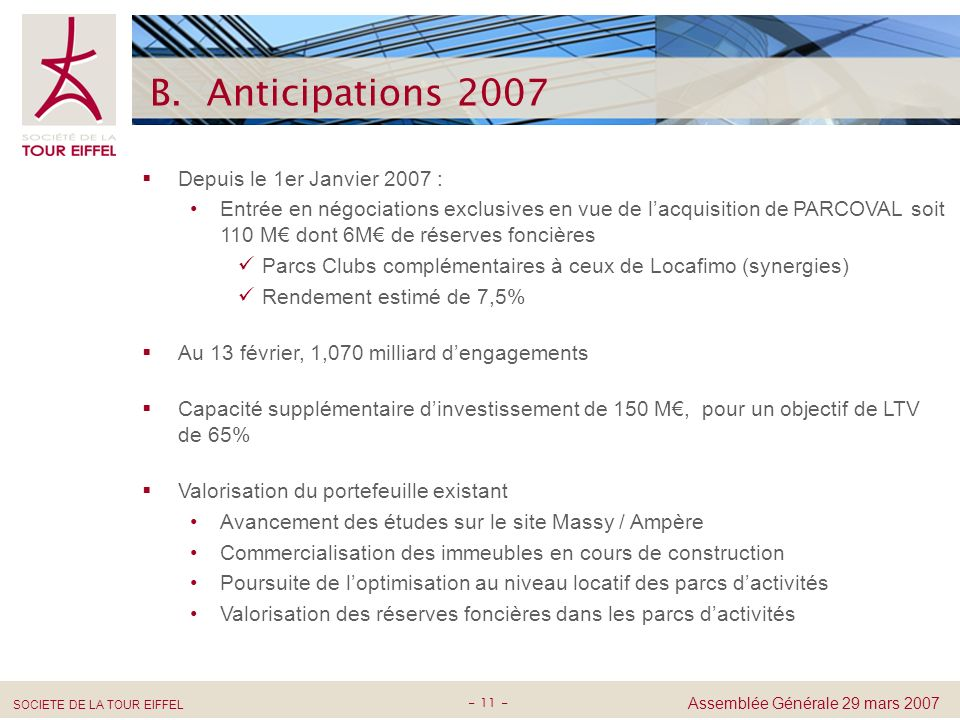 B. Anticipations 2007 Depuis le 1er Janvier 2007 :