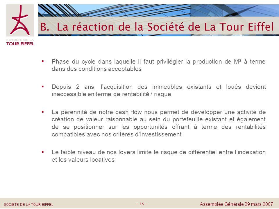 B. La réaction de la Société de La Tour Eiffel