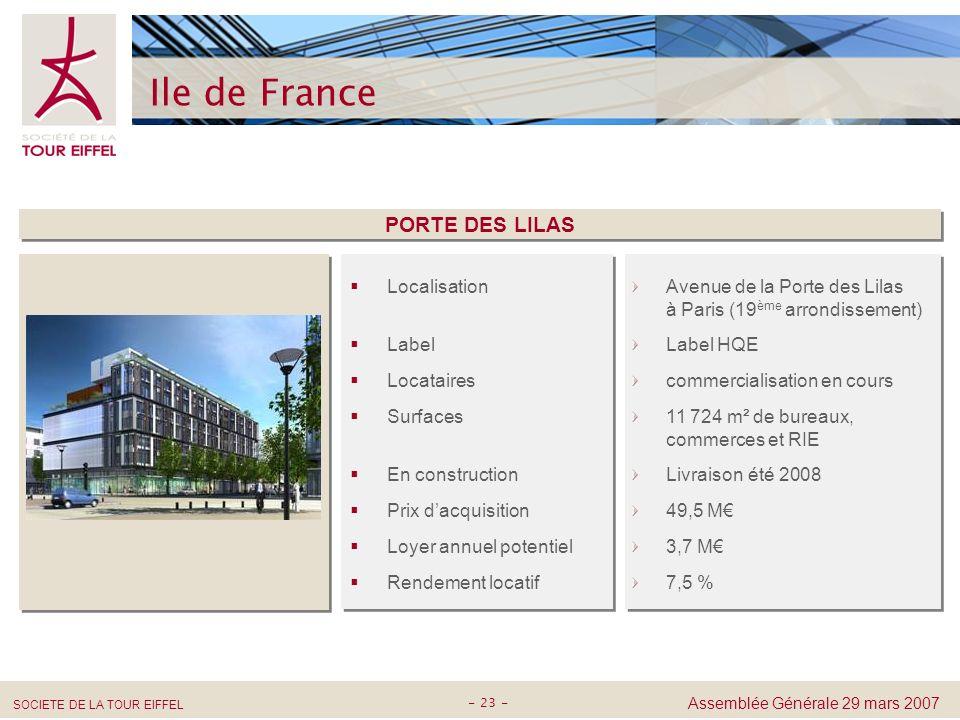 Ile de France PORTE DES LILAS Localisation Label Locataires Surfaces