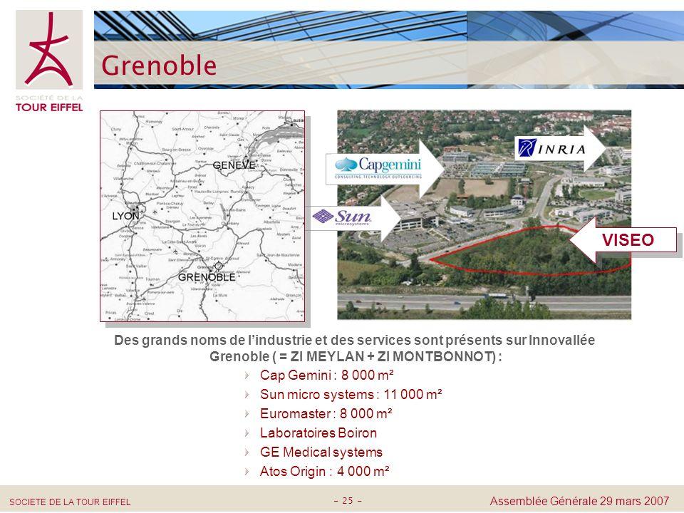 Grenoble VISEO. Des grands noms de l'industrie et des services sont présents sur Innovallée Grenoble ( = ZI MEYLAN + ZI MONTBONNOT) :