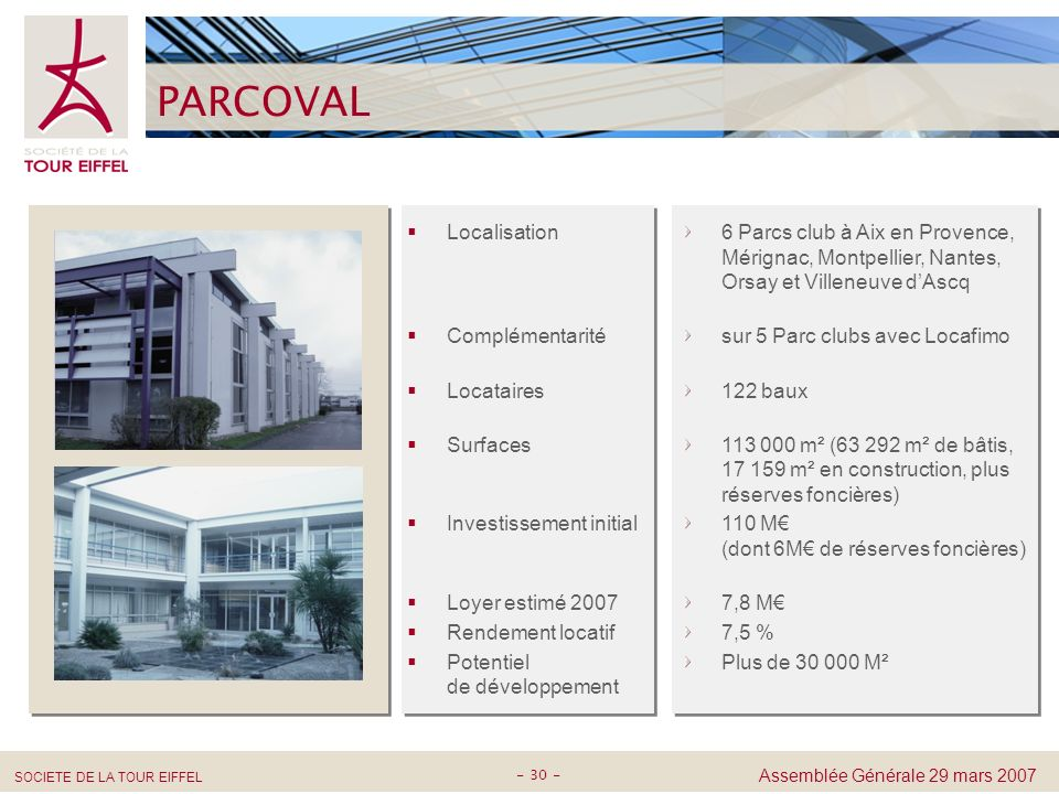PARCOVAL 6 Parcs club à Aix en Provence, Mérignac, Montpellier, Nantes, Orsay et Villeneuve d'Ascq.