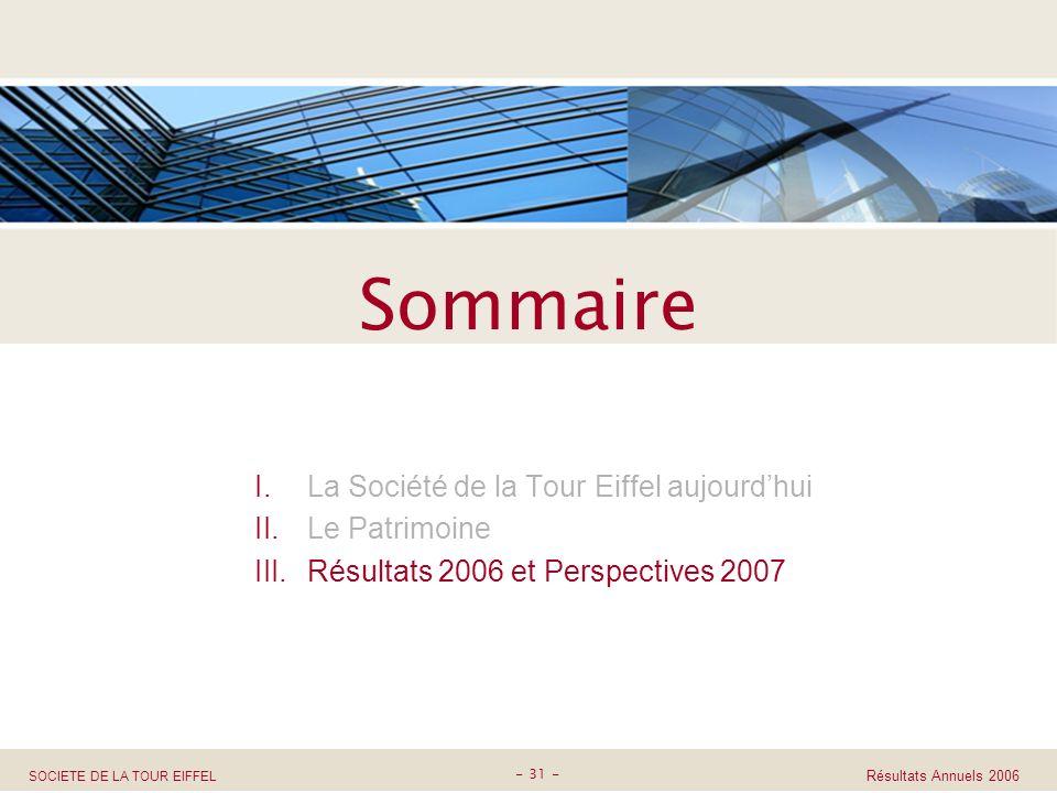 SOCIETE DE LA TOUR EIFFEL Résultats Annuels 2006